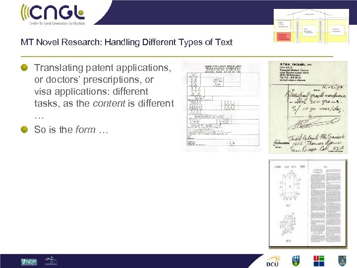 MT Novel Research: Handling Different Types of Text Translating patent applications, or doctors' prescriptions,