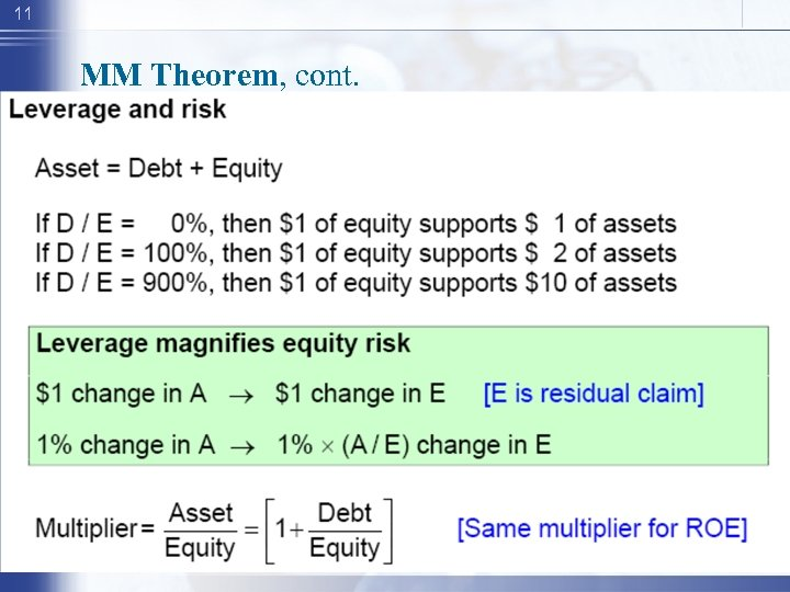 11 MM Theorem, cont.
