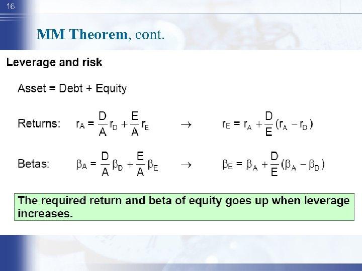 16 MM Theorem, cont.
