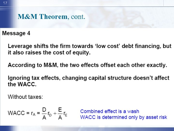 17 M&M Theorem, cont.