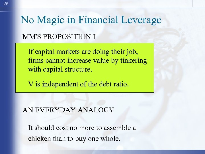 29 No Magic in Financial Leverage MM'S PROPOSITION I If capital markets are doing
