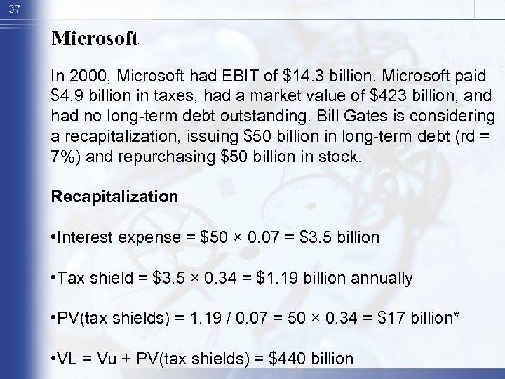 37 Microsoft In 2000, Microsoft had EBIT of $14. 3 billion. Microsoft paid $4.
