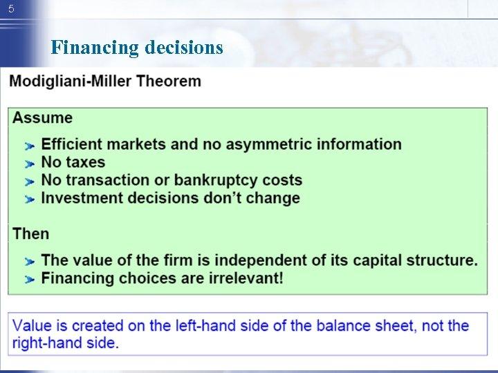 5 Financing decisions
