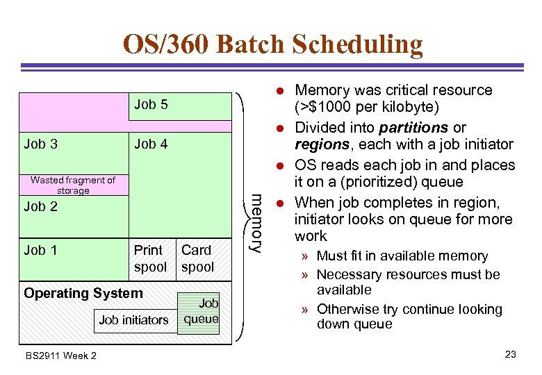OS/360 Batch Scheduling l Job 5 l Job 3 Job 4 l Job 2