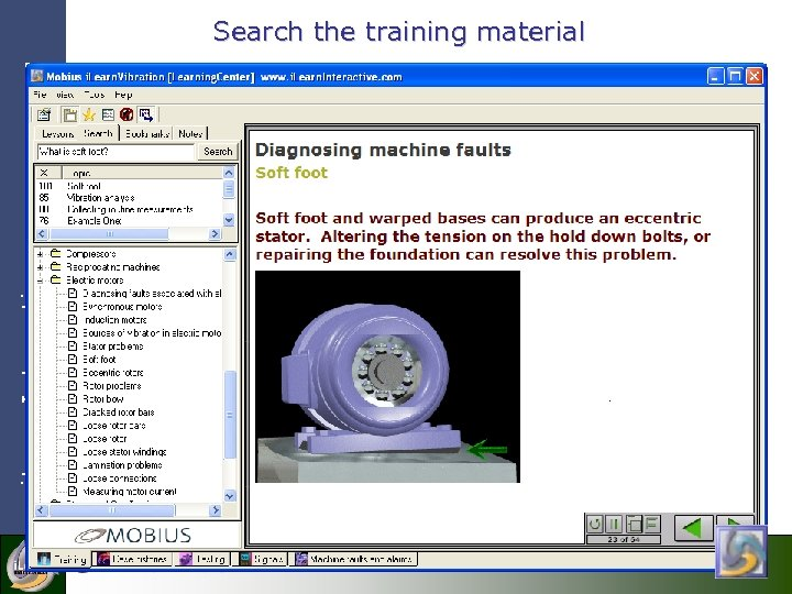 Search the training material i. Learn. Interactive Search the training