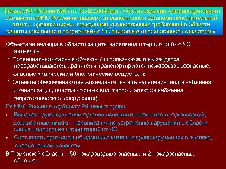 Приказ МЧС России № 65 от 16. 02. 2009 года «Об утверждении Административного регламента