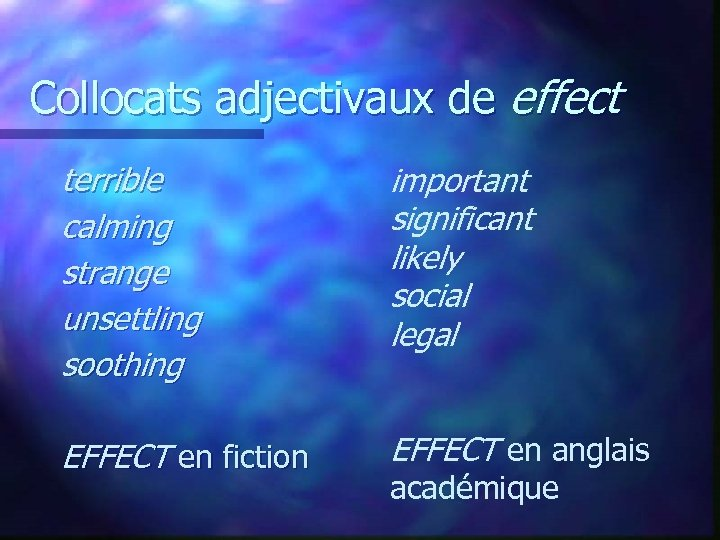 Collocats adjectivaux de effect terrible calming strange unsettling soothing important significant likely social legal