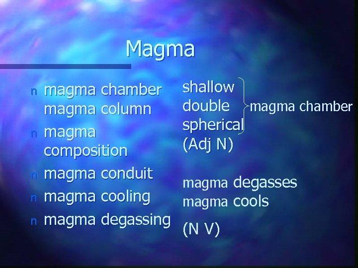 Magma n n n magma chamber magma column magma composition magma conduit magma cooling