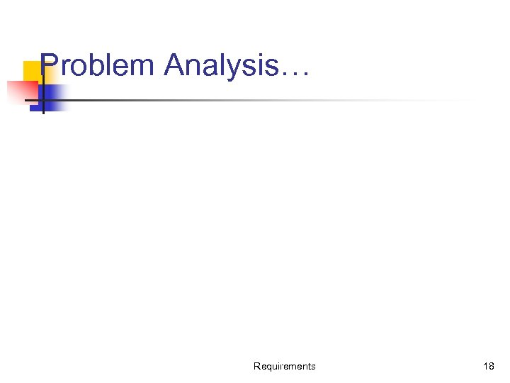 Problem Analysis… Requirements 18