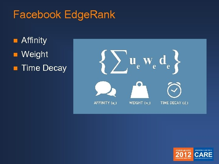 Facebook Edge. Rank n Affinity n Weight n Time Decay