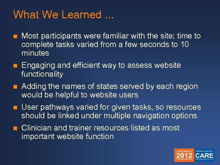 What We Learned. . . n Most participants were familiar with the site; time