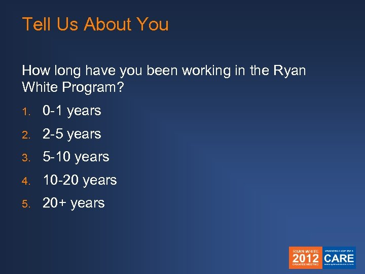 Tell Us About You How long have you been working in the Ryan White