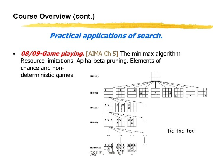 Course Overview (cont. ) Practical applications of search. • 08/09 -Game playing. [AIMA Ch