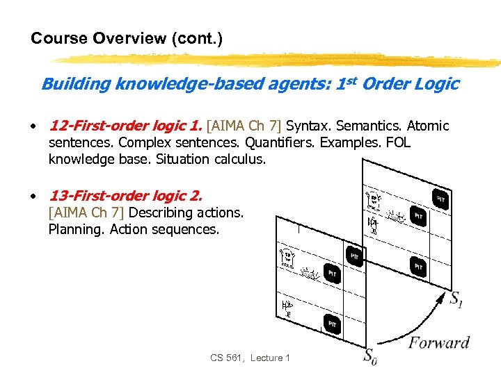 Course Overview (cont. ) Building knowledge-based agents: 1 st Order Logic • 12 -First-order