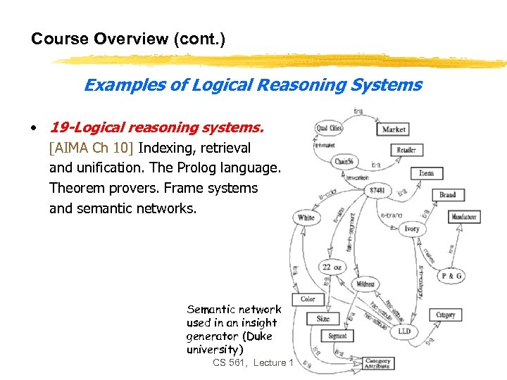 Course Overview (cont. ) Examples of Logical Reasoning Systems • 19 -Logical reasoning systems.