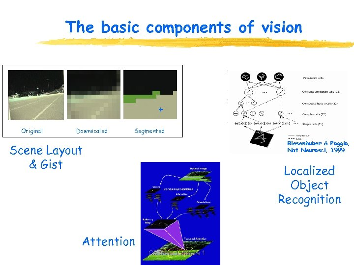 The basic components of vision + Original Downscaled Segmented Riesenhuber & Poggio, Nat Neurosci,