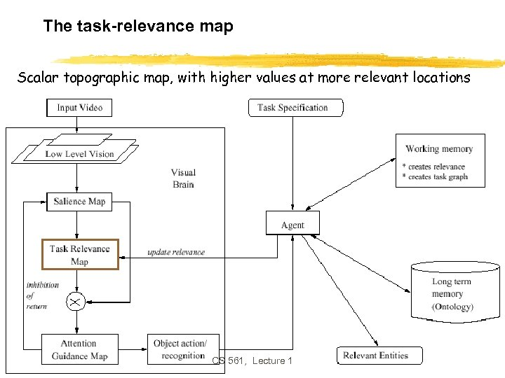 The task-relevance map Scalar topographic map, with higher values at more relevant locations CS