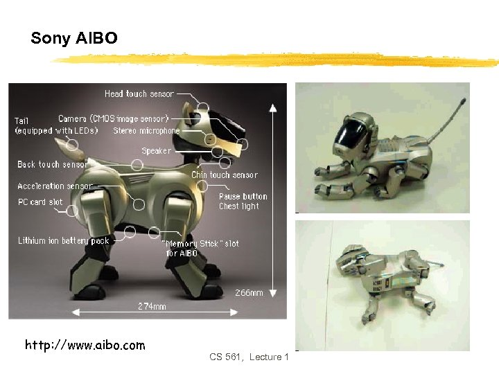 Sony AIBO http: //www. aibo. com CS 561, Lecture 1