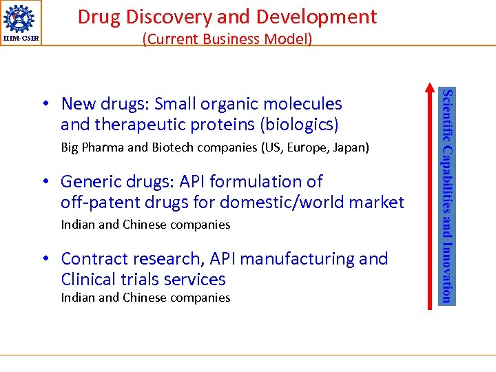 Drug Discovery and Development IIIM-CSIR (Current Business Model) • New drugs: Small organic molecules