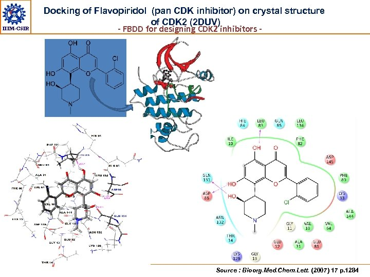 IIIM-CSIR Docking of Flavopiridol (pan CDK inhibitor) on crystal structure of CDK 2 (2