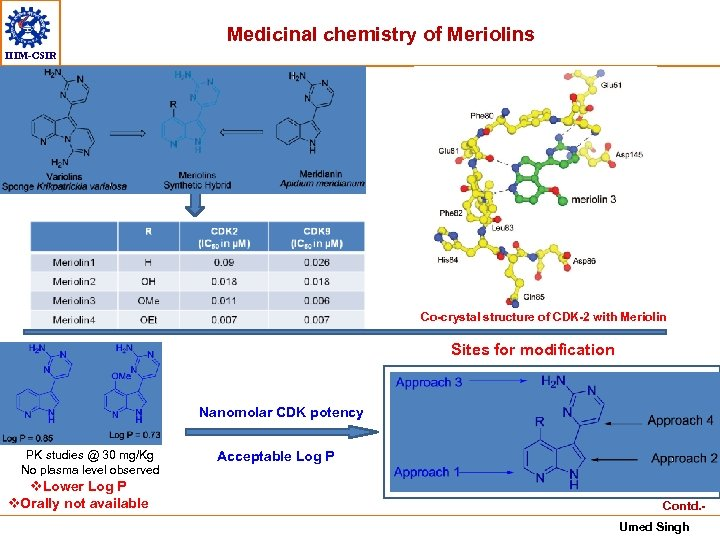 Medicinal chemistry of Meriolins IIIM-CSIR Co-crystal structure of CDK-2 with Meriolin Sites for modification
