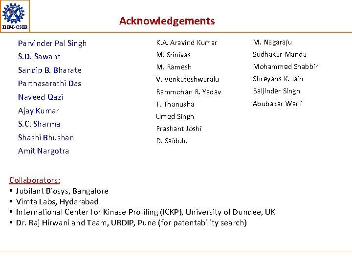 IIIM-CSIR Acknowledgements Parvinder Pal Singh K. A. Aravind Kumar M. Nagaraju S. D. Sawant
