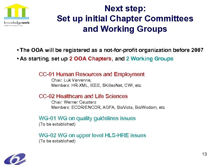 Next step: Set up initial Chapter Committees and Working Groups • The OOA will