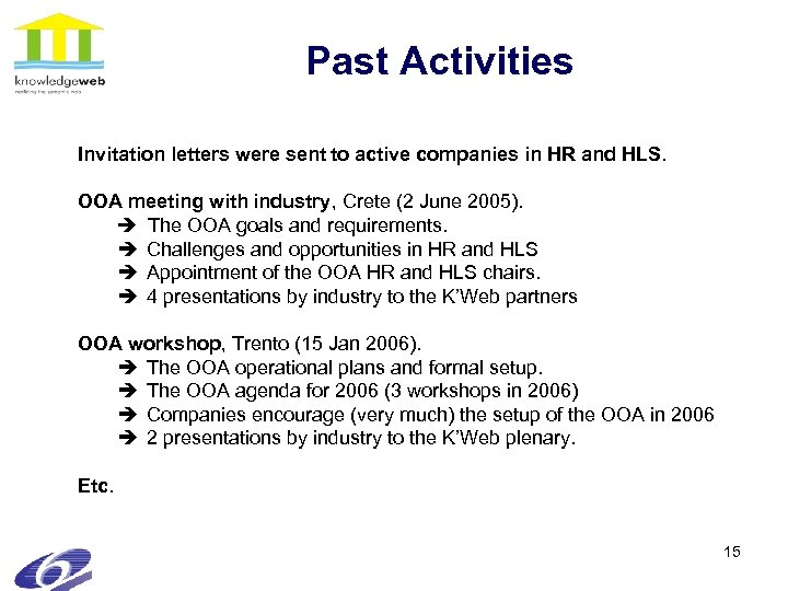 Past Activities Invitation letters were sent to active companies in HR and HLS. OOA