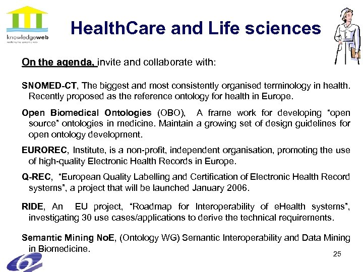Health. Care and Life sciences On the agenda, invite and collaborate with: SNOMED-CT, The