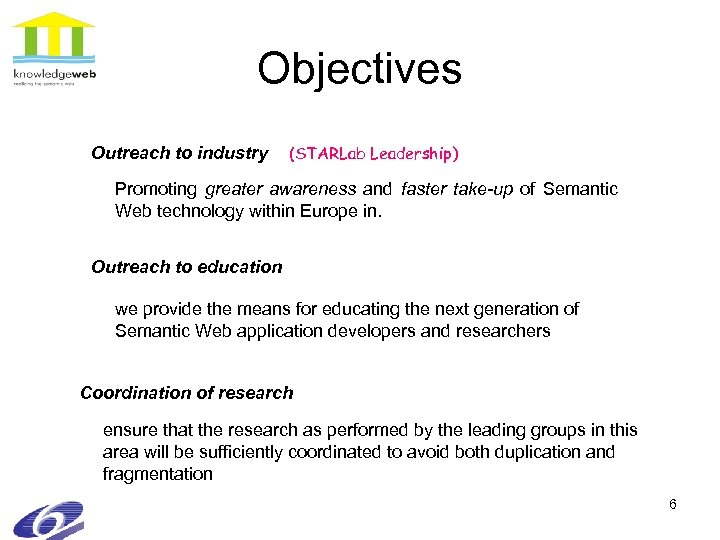 Objectives Outreach to industry (STARLab Leadership) Promoting greater awareness and faster take-up of Semantic