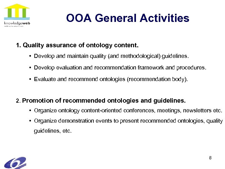 OOA General Activities 1. Quality assurance of ontology content. • Develop and maintain quality