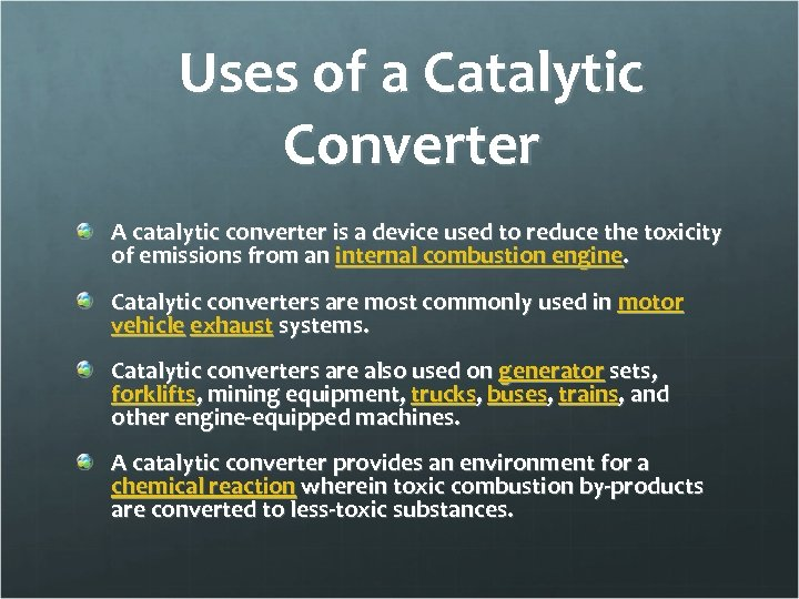 the essential part of catalytic converters to reduce harmful emissions Catalytic exhaust products manufacture a full line of high flow diesel catalytic converters, as well as exhaust cleaners, purifiers, scrubbers for different types of engines.