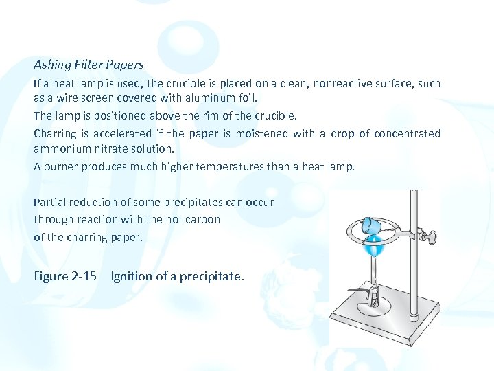 Ashing Filter Papers If a heat lamp is used, the crucible is placed on