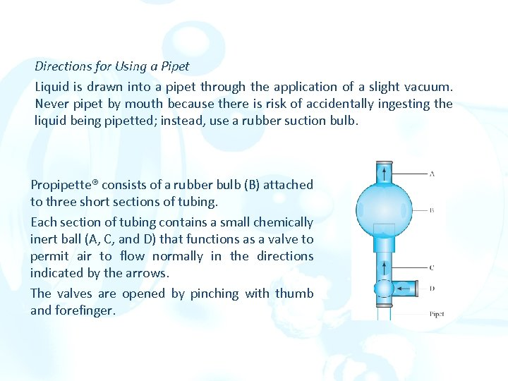 Directions for Using a Pipet Liquid is drawn into a pipet through the application