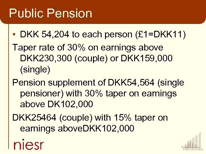 Public Pension • DKK 54, 204 to each person (£ 1=DKK 11) Taper rate