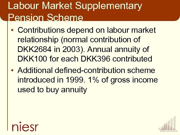 Labour Market Supplementary Pension Scheme • Contributions depend on labour market relationship (normal contribution
