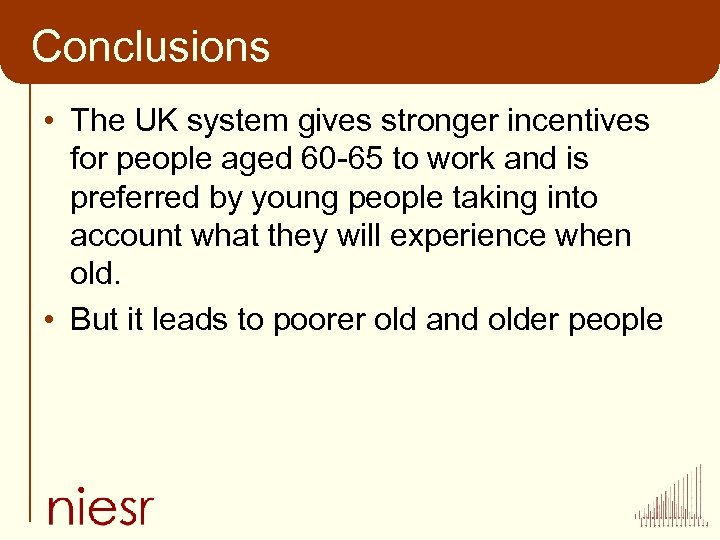 Conclusions • The UK system gives stronger incentives for people aged 60 -65 to