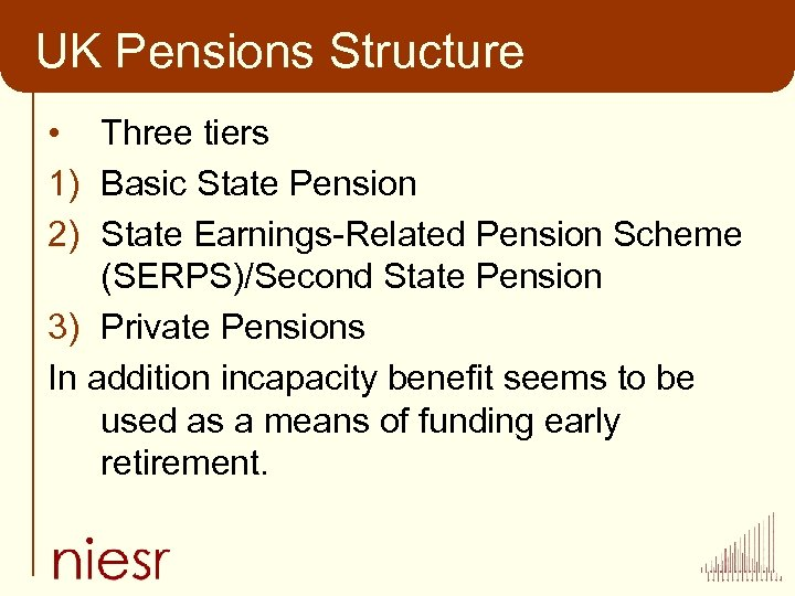 UK Pensions Structure • Three tiers 1) Basic State Pension 2) State Earnings-Related Pension