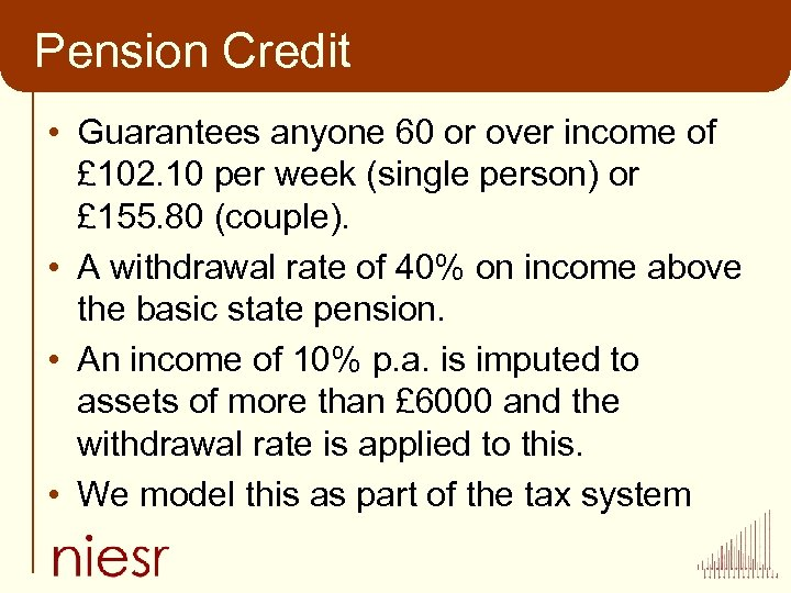 Pension Credit • Guarantees anyone 60 or over income of £ 102. 10 per
