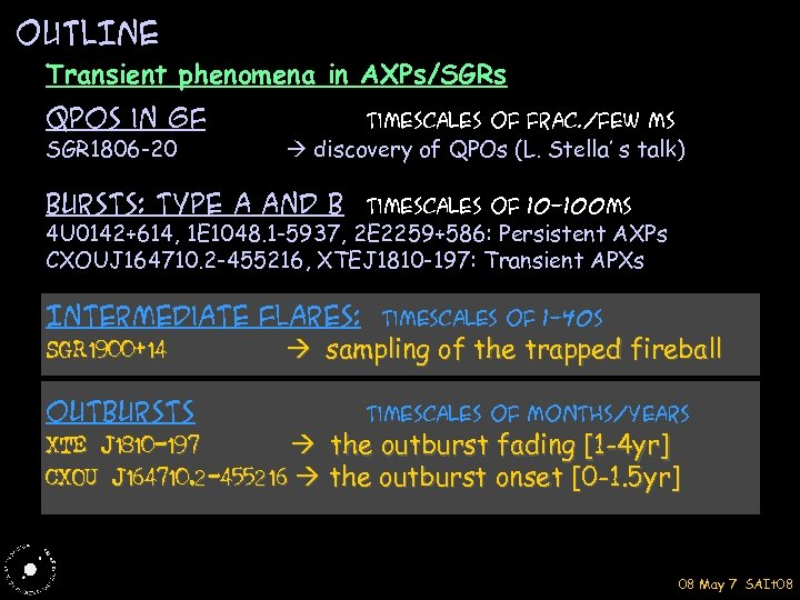 OUTLINE Transient phenomena in AXPs/SGRs QPOs in GF SGR 1806 -20 Timescales of Frac.