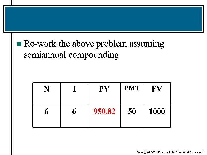 n Re-work the above problem assuming semiannual compounding N I PV PMT FV 6