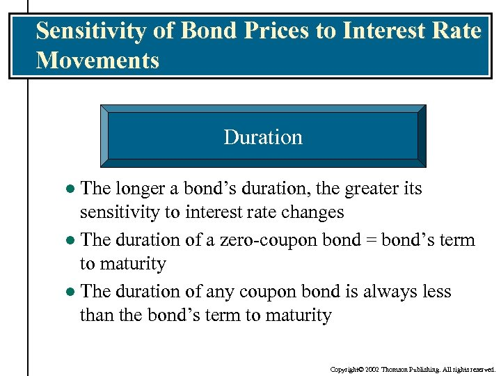 Sensitivity of Bond Prices to Interest Rate Movements Duration The longer a bond's duration,
