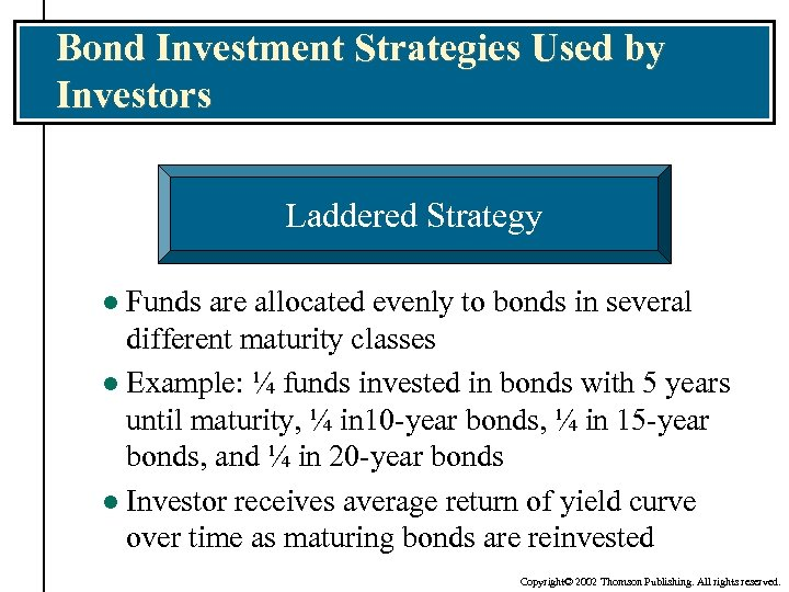 Bond Investment Strategies Used by Investors Laddered Strategy Funds are allocated evenly to bonds