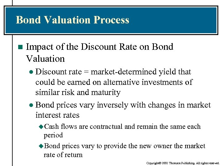 Bond Valuation Process n Impact of the Discount Rate on Bond Valuation Discount rate
