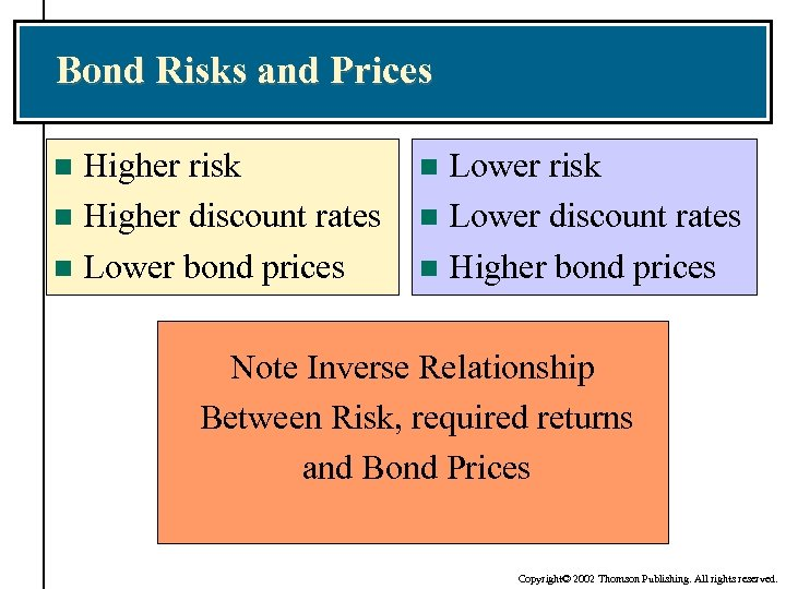 Bond Risks and Prices Higher risk n Higher discount rates n Lower bond prices