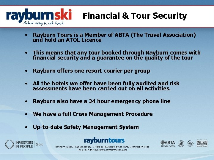 Financial & Tour Security • Rayburn Tours is a Member of ABTA (The Travel