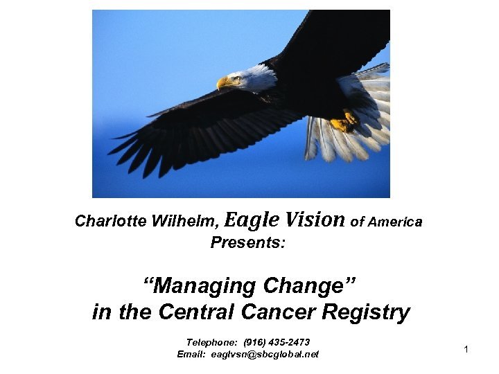 "Charlotte Wilhelm, Eagle Vision of America Presents: ""Managing Change"" in the Central Cancer Registry"