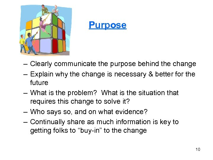 Purpose – Clearly communicate the purpose behind the change – Explain why the change