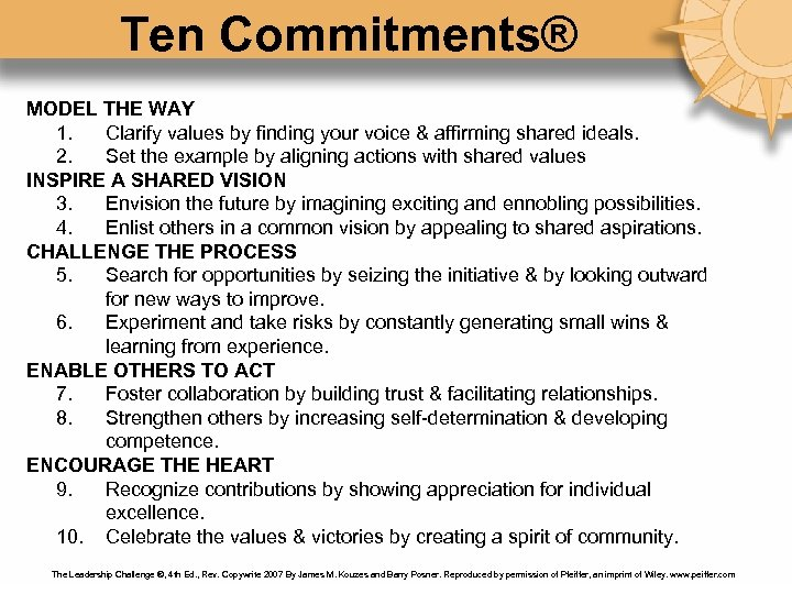 Ten Commitments® MODEL THE WAY 1. Clarify values by finding your voice & affirming