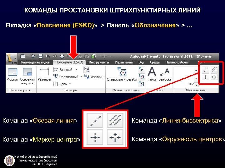 КОМАНДЫ ПРОСТАНОВКИ ШТРИХПУНКТИРНЫХ ЛИНИЙ Вкладка «Пояснения (ESKD)» > Панель «Обозначения» > … Команда «Осевая